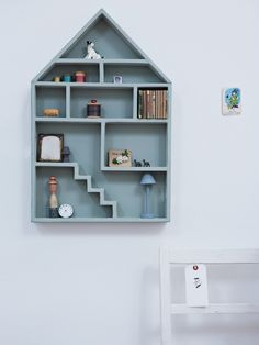 Gesso Dolls House Shelf- What better place for adults and children alike to collect their childhood treasures than on this lovely chalky gesso, dolls house shaped shelf. Available in Mint Green or White.   £55.00  www.coxandcox.co.uk