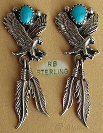 Boucles d'oreilles amérindiennes Navajo, turquoise avec Aigles en argent, bijou amérindien signé RB