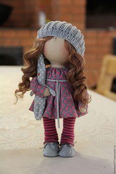 Купить Интерьерная кукла В НАЛИЧИИ - фуксия, серый цвет, трикотаж, хлопок 100%