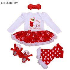 私の第一のクリスマス女の子扮チュチュレースロンパースドレスヘッドバンドレッグウォーマーベビーベッド靴新生児女の赤ちゃん服幼児服