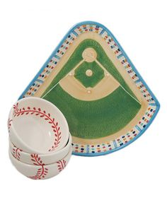 Baseball Tray & Bowl Set $19.99 on #zulily
