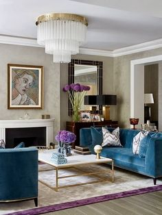 ***P: Not a fan of the teal or the gold coffee table frame. Light fixture feels like luxury.*** Teal Art Deco Living Room decor with teal velvet sofa teal decor Living Room Decor Elegant, Art Deco Living Room, Teal Living Rooms, New Living Room, Living Room Sofa, Living Room Designs, Teal Room Decor, Blue Velvet Sofa Living Room, Piano Room Decor