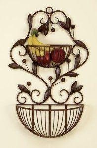 Amazon.com: Benzara 50008 30 in. H x 16 in. W Metal Wall Basket: Home & Kitchen