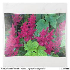 Pink Astilbe Blooms Floral Large Trinket Trays