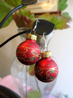 Christmas Earrings, Red Christmas Bulb Earrings by SmithNJewels on Etsy