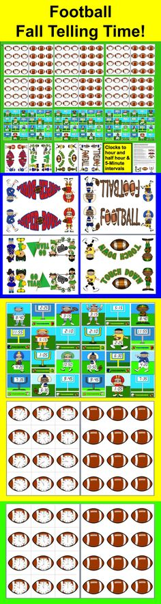 $ Football Time:  Clocks Math Centers:  Touchdown Time!  - 3 Levels- Touchdown Time! Match Football Clock Times  to Digital Time on Football Players and Goals  26  Page Download - 2 Ways to Play  -+ an original poem to help students learn about the hands on the clock.  Footballs with clock faces to the hour, half hour and five minute intervals match up to football players and goals with digital times.