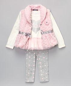 bf6004179b Look at this Pink  amp  Ivory Faux Fur Vest Set - Toddler  amp  Girls