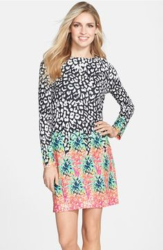 Nicole Miller Mixed Print Jersey Shift Dress available at #Nordstrom