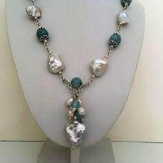"""10-12 Mm Blanc Baroque Eau Douce Collier De Perles 50/"""" 925 Fermoir Argent"""
