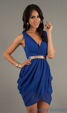 Short Sleeveless V-Neck Party Dress at SimplyDresses.com Love this!