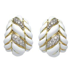 Shop diamond and pearl clip-on earrings and other vintage and antique earrings from the world's best jewelry dealers. David Webb, Antique Earrings, Bangles, Bracelets, White Enamel, Clip On Earrings, Ivory, Gems, Jewels