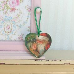 Dollhouse Miniature Wooden Green Christmas Santa Hanging heart  Shabby Chic 12th Scale.