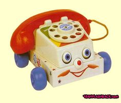 Fisher Price Chatter Phone ~ my children played with this phone back in the early 70's until my son started swinging it around in the air one day, and broke the hand-painted chandelier in the den of our 1901 Victorian house in Portsmouth, VA.  Dad was not pleased !