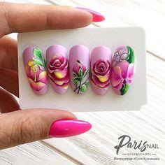Gel Nails, Acrylic Nails, Nail Polish, Flower Nail Designs, Nail Art Designs, Art Deco Nails, Chrome Powder, Rose Nail Art, Nailart