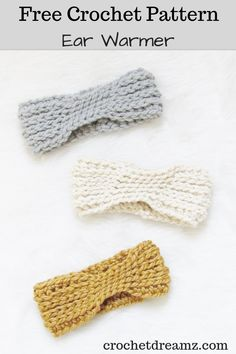 The 15 minute crochet ear warmer free pattern is a quick and simple make. The DIY tutorial shows you how to make this chunky ear warmer headband for women that is fit for any beginner. This elegant accessory comes in kid, teen, adult sizes. Crochet Ear Warmer Pattern, Crochet Headband Pattern, Crochet Beanie, Crochet Headbands, Crochet Scarfs, Knit Headband, Crochet Dresses, Baby Headbands, Crochet Garland