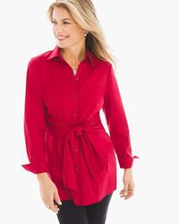 Long Layered Tie Shirt in Renaissance Red>