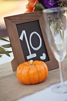 Stained rustic wood 5x7 chalkboard table numbers #weddings