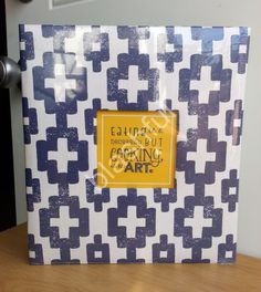 CR Gibson Navy Blue Geometic ART OF COOKING Pocket Page Recipe Book Organizer  #CRGibson