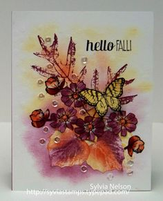 Stampin' Up! ... handmade card: Hello Fall...Gorgeous Leaves...flowers and a Butterfly note card...Beautiful water color card...beautiful colors! ... by Sylvia Nelson ... on her Etsy shop ... luv the collage water coloring by this talented artist!!