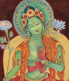 Green Tara Goddess of Compassion B Thangka thanka Buddhist Deity Mother Goddess Tibetan art Art Buddha, Buddha Kunst, Tara Goddess, Mother Goddess, Green Tara, Tara Verte, La Compassion, Vajrayana Buddhism, Tibetan Art