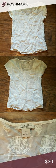 White blouse Lucky Brand, white, elephant pattern, sheer, GUC, XS Lucky Tops Blouses