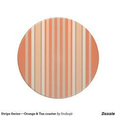 Stripe Series---Orange & Tan coaster