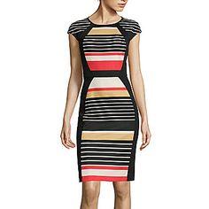 jcp | RN Studio by Ronni Nicole Cap-Sleeve Striped Sheath Dress