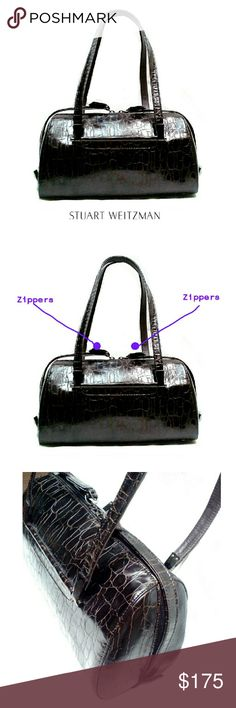 """STUART WEITZMAN CROCODILE  EMBOSSED SATCHEL STUART WEITZMAN CROCODILE EMBOSSED SATCHEL  Pre-Loved  / EUC Never Used! This is  Truly Beautiful Bag All the Way Around,. There are 2 Zippers that Meet on the Top Middle. They Open From the Top All the Way Around to the Bottom! Amazing! 1 Interior Zipper Compartment Mirrored Tarnished Silver-Black Hardware 4 Feet of Same Hardware Approx Meas;    *   L   11 1/2""""    *   H   7 1/2""""    *   W 4""""    *   Drop   9"""" Pls See All Pics. Ask ? If Needed Stuart…"""