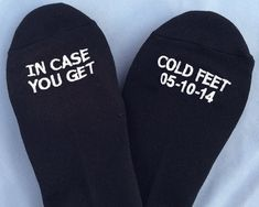 Grooms Socks in case you get cold feet WITH YOUR WEDDING DATE by GroomSocks, wedding gift idea
