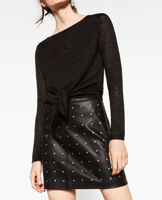 SEQUINNED TIE-FRONT SWEATER from Zara $30