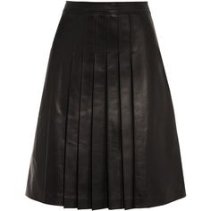 Michael Kors Collection Pleated leather skirt ($825) ❤ liked on Polyvore featuring skirts, black, knee length leather skirt, michael kors skirts, black knee length skirt, pleated leather skirt and leather skirt