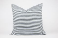Blue-grey and white striped cushion cover 100% by LINThomeware