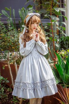 Little Dipper -Simple But Elegant- Pure Color Classic Lolita OP Dress,Lolita Dresses, Harajuku Fashion, Kawaii Fashion, Lolita Fashion, Kawaii Dress, Kawaii Clothes, Cute Dresses, Vintage Dresses, Cute Outfits, Emo Outfits