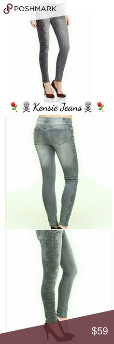 ⚘☠Kensie☠⚘ Fade to Grey Lace Jeans ⚘☠Kensie☠⚘Screenprint Lacey Skinny Jeans; Lace Print Features Down the Sides of Legs giving a Elongated Look; 5 Pocket Classic.92% Cotton~6% Polyester~2% Spandex. Machine Wash~Tumble Dry Low. Kensie Pants Skinny