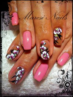 Pink, flower, nice flower nail