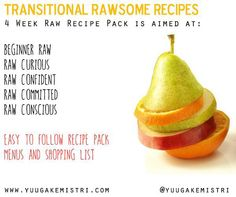 Transition to Raw! We can help with fab plan healthy delicious recipes www.yuugakemistri.com