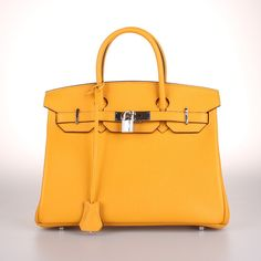This is a custom made yellow birkin bag. This customized Amoora handbag is available in 4 sizes, and you can choose either gold or silver hardware.    Choose: 25cm, 30cm, 35cm, or 40cm