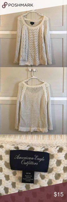 White American eagle sweater White sweater size M American Eagle Outfitters Sweaters Crew & Scoop Necks