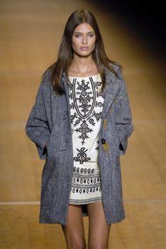 bianca balti - mini dress and grey coat