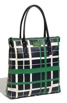 09d9dfa203 Black tote bag with green and white stripes Portemonnees En Handtassen