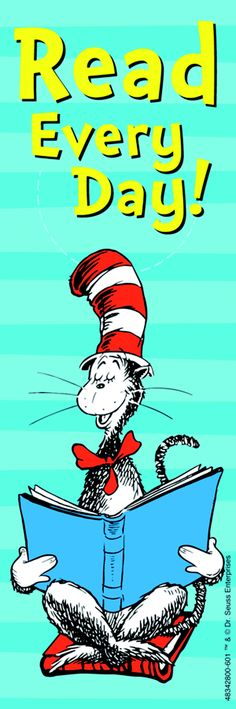 Dr Seuss Cat in the Hat Read Every Day Bookmark, 6 in H X 2 in W, Pack of 36