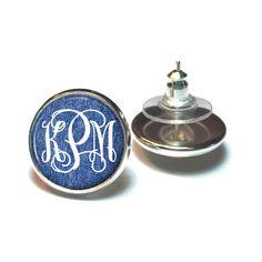 Monogram Earrings, Denim Monogram Stud Earrings, Personalized Monogram... ($7.75) ❤ liked on Polyvore featuring jewelry, earrings, stud earrings, monogram jewelry, denim jewelry, earring jewelry and monogram stud earrings