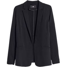 H&M Figure-fit blazer (€11) ❤ liked on Polyvore featuring outerwear, jackets, blazers, coats, black, straight jacket, stretch blazer, h&m jackets, h&m blazer and blazer jacket