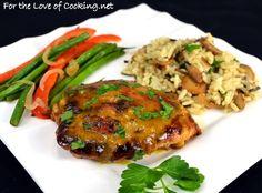 Mustard-Maple Chicken Thighs: For the Love of Cooking Maple Mustard Chicken, Maple Chicken, Glazed Chicken, Chicken Thigh Recipes, Healthy Chicken Recipes, Beef Recipes, Recipies, Pollo Chicken, Grilled Chicken