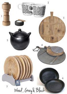 wood, black and grey