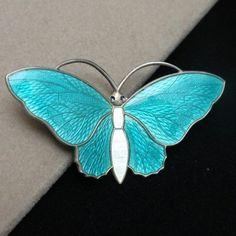 Butterfly Pin Vintage Sterling Silver Enamel Aksel Holmsen Norway