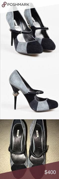 MIU MIU Gray Black Suede Tri Color Mary Jane Pumps BARELY WORN MIU MIU heels in size 39 which is a 9. Very cool embellished heel. Have only been worn a few times. These shoes are in amazing condition! AUTHENTIC Miu Miu Shoes Heels