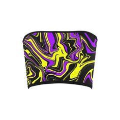 Purple Yellow and Black Psychedelic Melt Bandeau Top from BigTexFunkadelic Bandeau Tops, Purple Yellow, Psychedelic, Neon, Stylish, Womens Fashion, How To Wear, Black, Black People