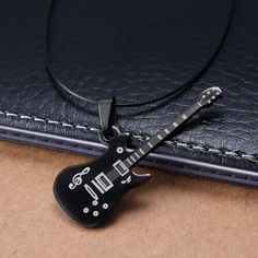 Wholesale Fashion guitar Pendant 316L Stainless Steel necklaces & pendants Leather Chain men necklaces Free Shipping