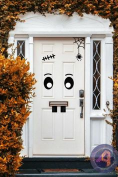 Transform your front door into a monster with these easy to apply vinyl stickers. It's a great way to show some Halloween spirit to the neighborhood! See more party ideas and share yours at CatchMyparty.com #catchmyparty #partyideas #halloween #halloweenpartydecorations #outdoorhalloweenpartydecorations #partysupplies #frontdoor